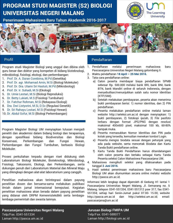 Penerimaan Mahasiswa Baru Magister (S2) Biologi Universitas Negeri Malang