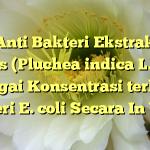 Daya Anti Bakteri Ekstrak Daun Beluntas (Pluchea indica L.) dalam Berbagai Konsentrasi terhadap Bakteri E. coli Secara In Vitro
